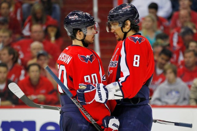 May 5, 2012; Washington, DC, USA; Washington Capitals left wing Alex Ovechkin (8) talks with Capitals center Marcus Johansson (90) during a stoppage in play against the New York Rangers during the third period in game four in the Eastern Conference semifinals of the 2012 Stanley Cup Playoffs at Verizon Center. The Capitals won 3-2. Mandatory Credit: Geoff Burke-USA TODAY Sports