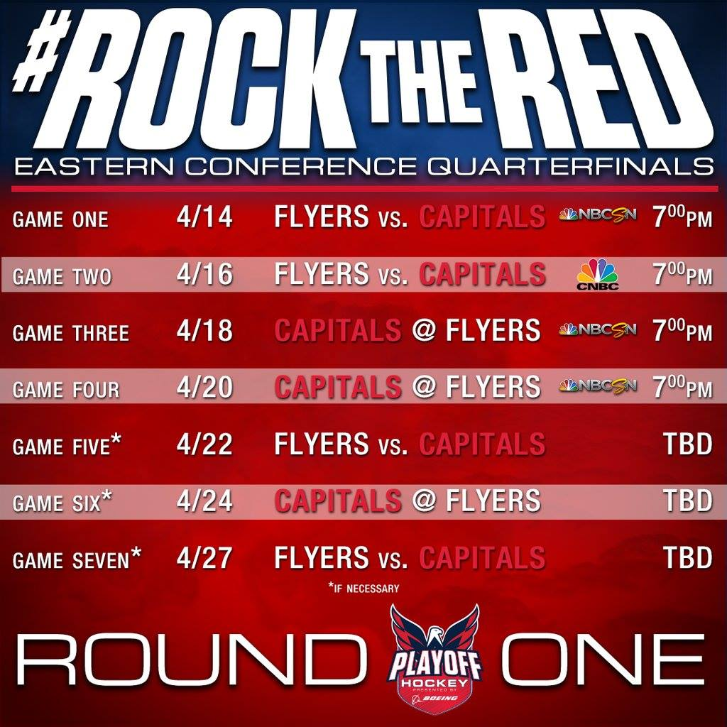 capitals playoff schedule for round one | nova caps