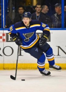 Nov 6, 2014; St. Louis, MO, USA; St. Louis Blues right wing Vladimir Tarasenko (91) skates with the puck against the New Jersey Devils during the first period at Scottrade Center. Mandatory Credit: Jasen Vinlove-USA TODAY Sports