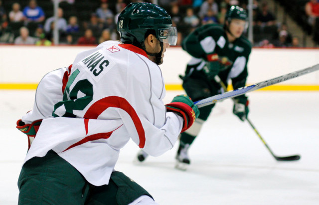 Sam Anas participates in the Minnesota Wild's developmental league workouts at Xcel Energy Center in St. Paul in July, 2016. Photo courtesy of the Minnesota Wild: Katlyn Gambill.