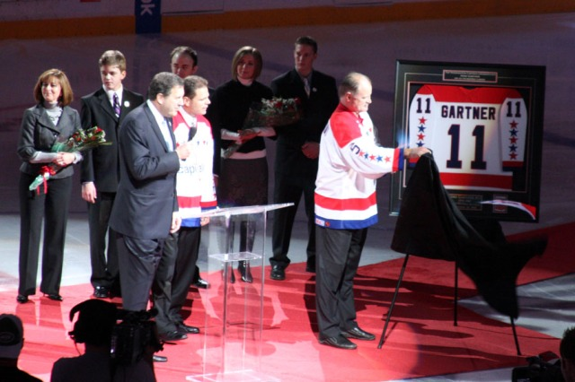 Mike Gartner's retired jersey - Washington, DC ... December 28, 2008 ... Photo by Rob Page III