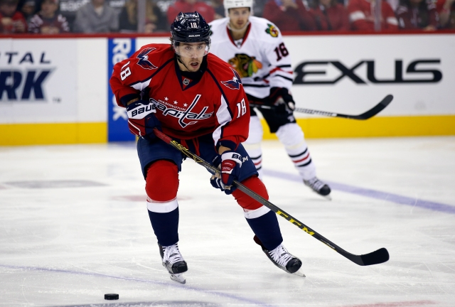 Washington Capitals center Chandler Stephenson skates with the puck in the third period of an NHL hockey game against the Chicago Blackhawks, Thursday, Oct. 15, 2015, in Washington. The Capitals won 4-1. (AP Photo/Alex Brandon)
