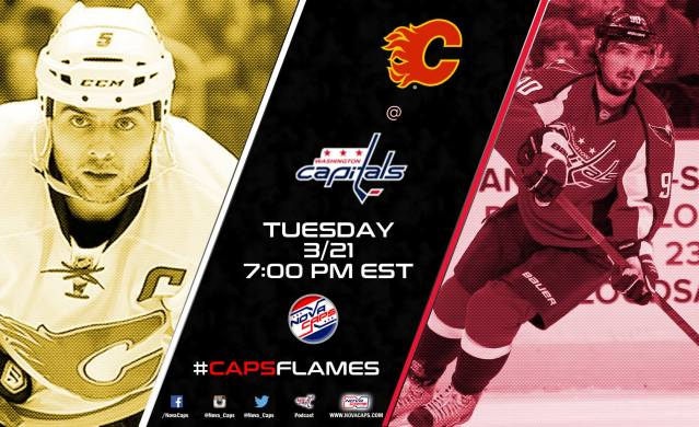 Flames @ Capitals game graphic