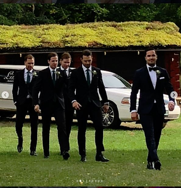 Groomsmen in Front of Limo Johansson Wedding