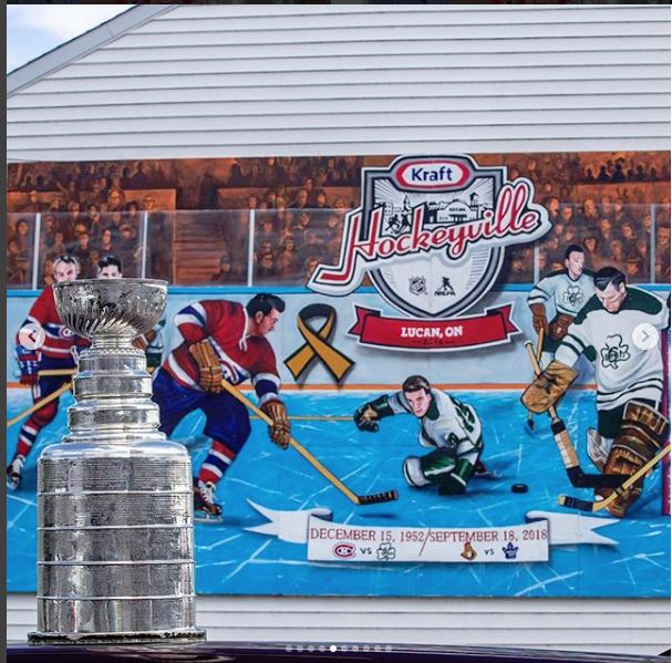 NHL Lucan Fans Cup in Front of Poster