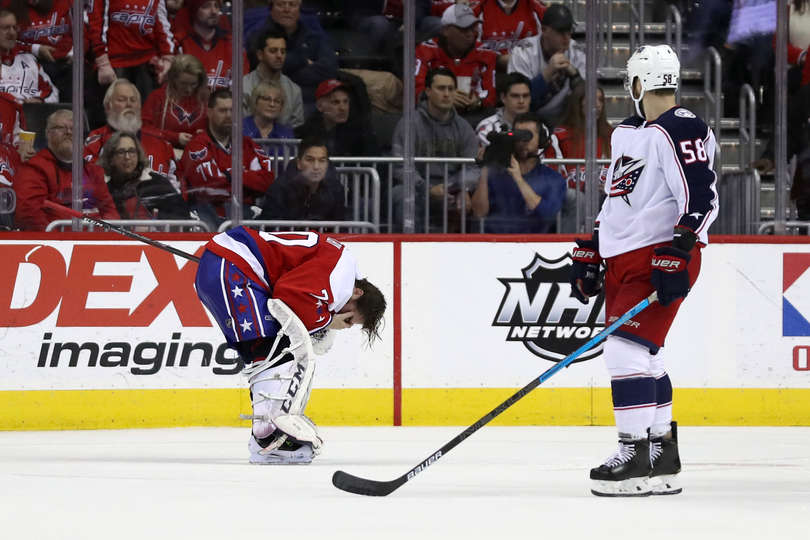b3e22c580b1 Capitals  Braden Holtby Leaves Game Versus Blue Jackets With Eye Injury