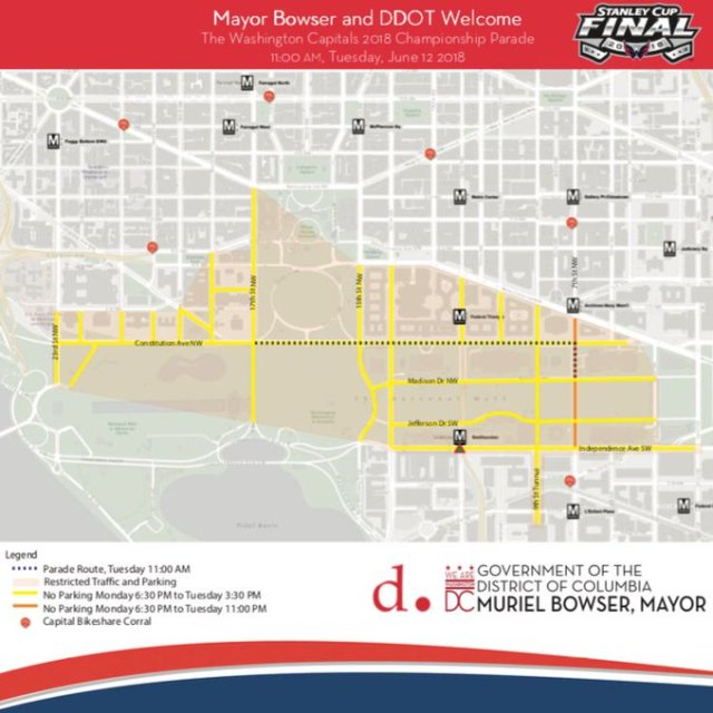 Caps Parade Route from Mayors Office